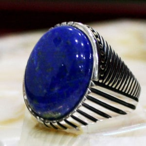 Blue Rounded Stone Silver Ring