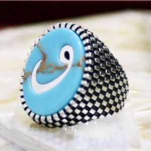 Arabic Style Blue Stone Silver Ring